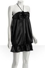 Alexia Admor Black Satin Rosette Detail Halter Dress - Lyst