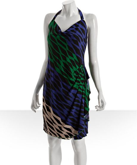 Draped Cowl Neck Dress: Bcbgmaxazria Evergreen Print Jersey Draped Cowl Neck