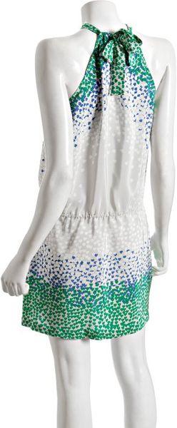 Bcbgmaxazria Emerald Printed Silk Scarf Neck Halter Dress