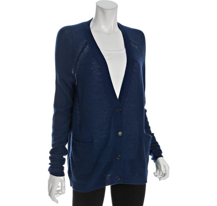 Bcbgmaxazria Navy Cashmere V-neck Boyfriend Cardigan in Blue | Lyst