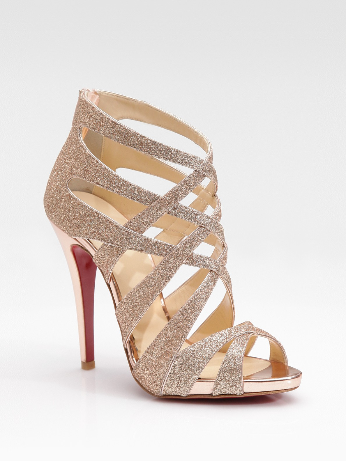 christian louboutin gold strappy sandals