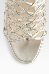 Christian Louboutin Salsbourg Metallic Leather Strappy Sandals in Gold - Lyst