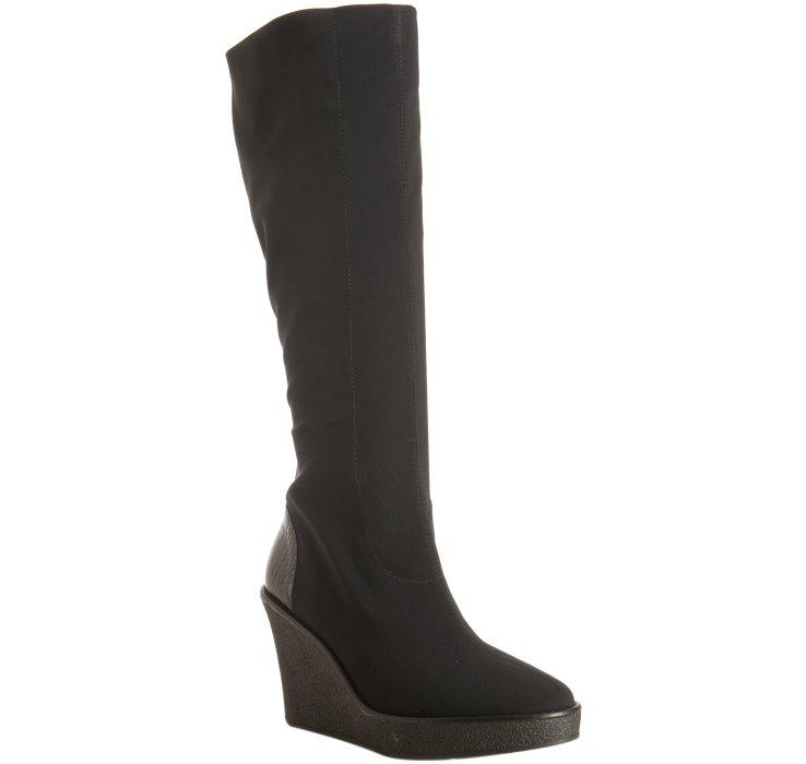 donald j pliner black microfiber elastic trike wedge boots