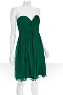 Donna Morgan Emerald Pleated Chiffon Strapless Dress - Lyst