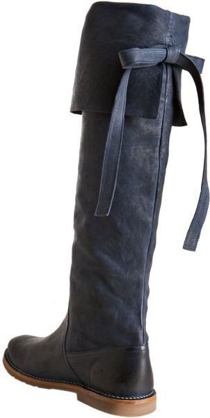 Frye Navy Leather Celia Over The Knee Folded Cuff Boots In