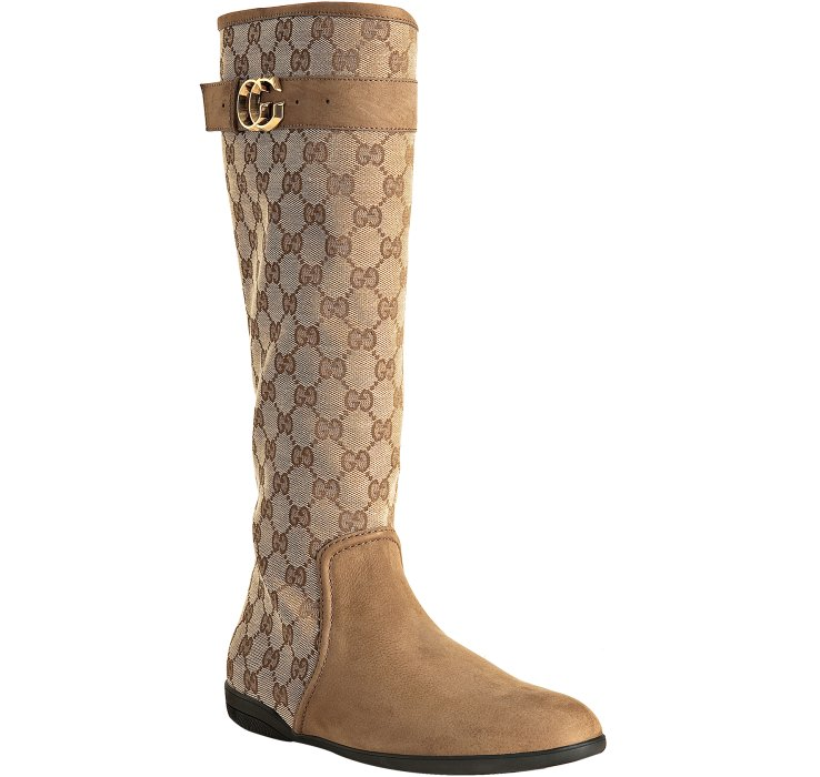 gucci beige gg canvas brieuc flat boots in beige lyst