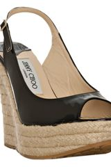 Jimmy Choo Black Patent Polar Platform Slingback Wedges in Black - Lyst