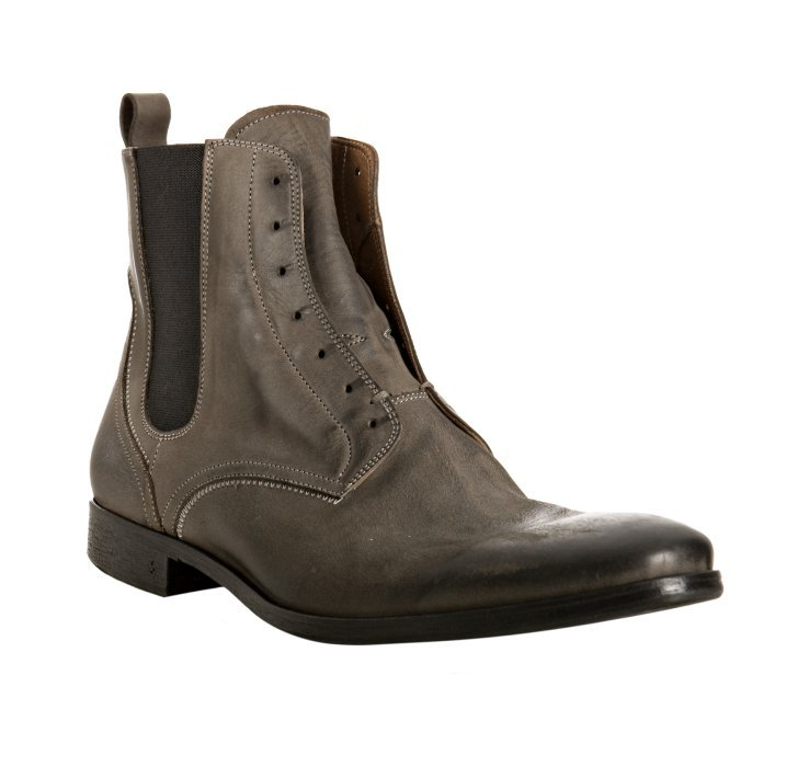 john varvatos lead leather ago chelsea boots in gray for men lead lyst. Black Bedroom Furniture Sets. Home Design Ideas