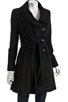 Kenneth Cole Black Wool Blend Ruffle Collar Belted Coat - Lyst