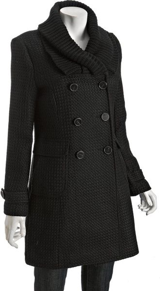 Latte By Coffeeshop Black Textured Wool Blend Knit Collar Double Breasted Coat in Black - Lyst