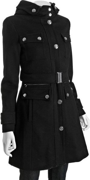 Laundry By Shelli Segal Black Wool Blend Faux Fur Trim