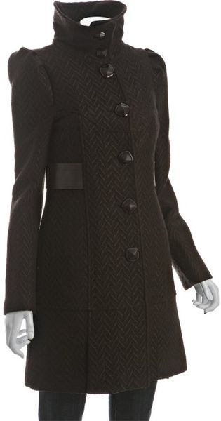 Mackage Cocoa Jacquard Wool Trixie Leather Detail Coat - Lyst