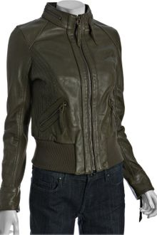 Michael by Michael Kors Duffle Leather Knit Top Stitch Zip-up Jacket - Lyst