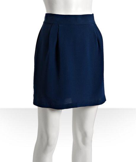 naven navy silk mini skirt in blue navy lyst