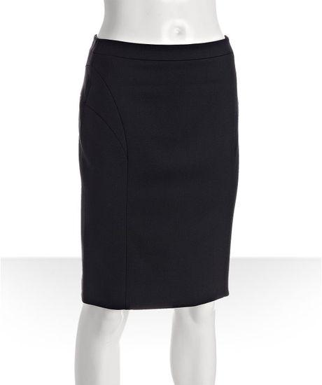 prada navy wool seam detail pencil skirt in blue navy lyst