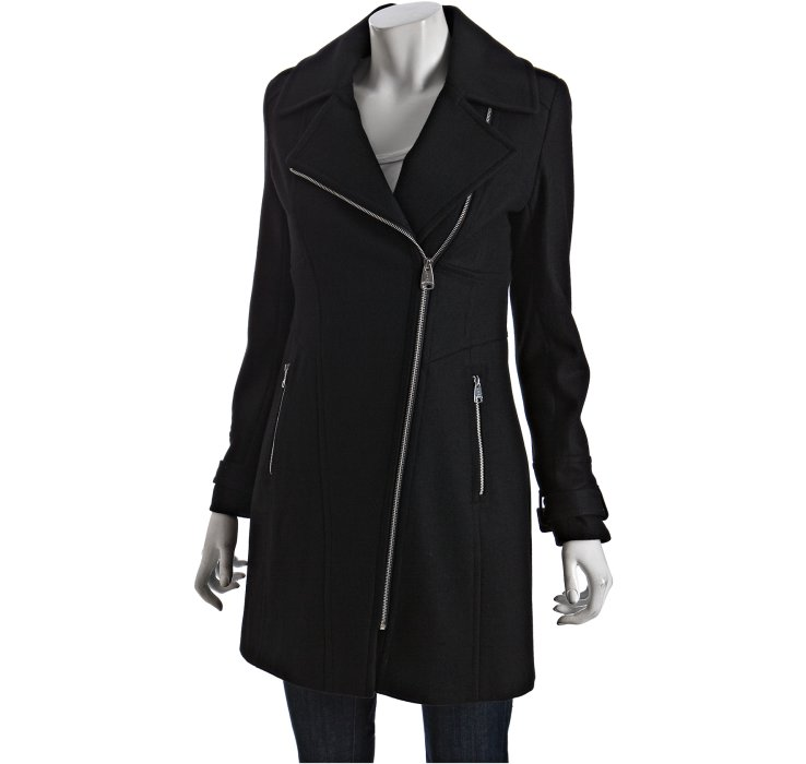 Via spiga Black Wool Blend Zip Front Caternia Coat in Black | Lyst
