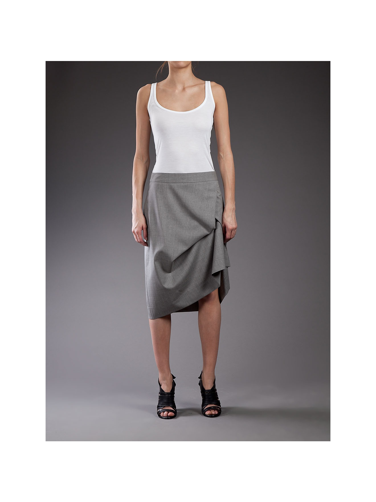 5d341f6a16 Vivienne Westwood Red Label Draped Wool-blend Pencil Skirt in Gray ...