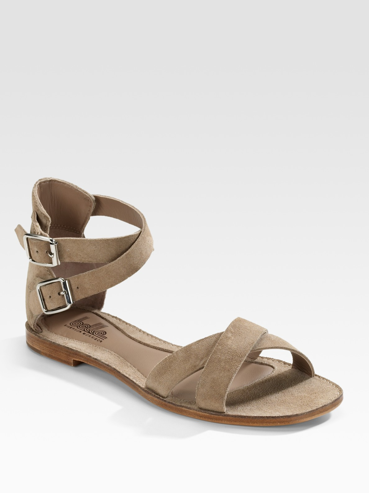 a29112022b00 Lyst - Belle By Sigerson Morrison Suede Crisscross Flat Sandals in Brown