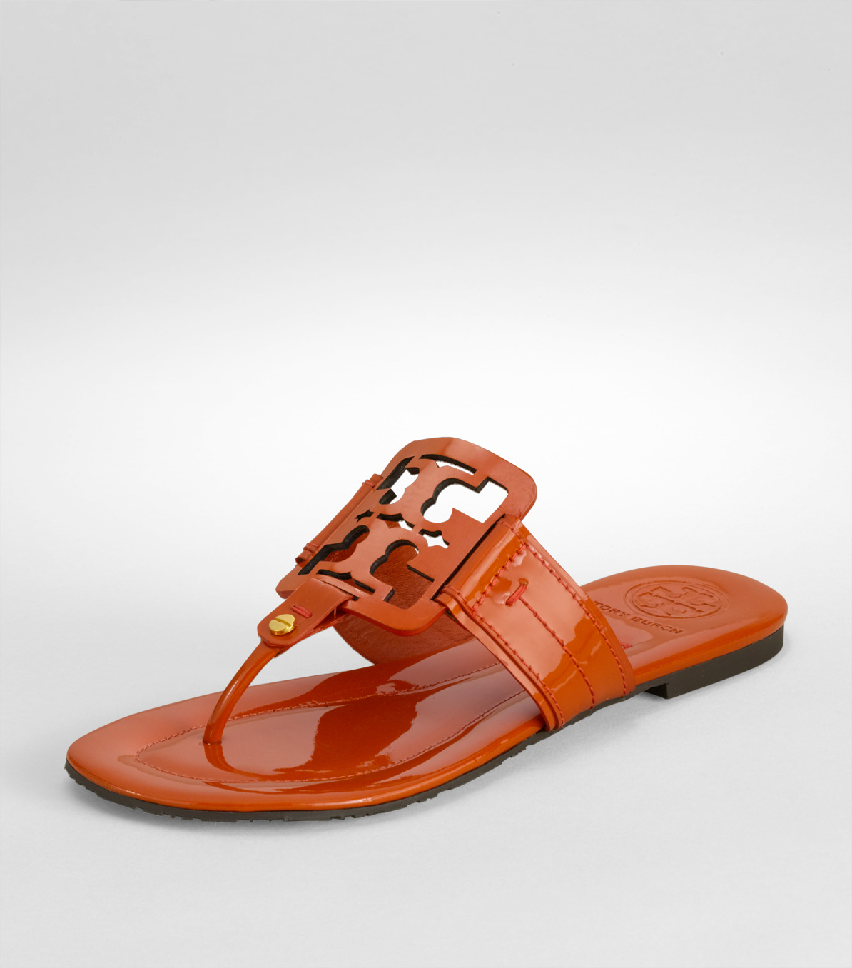 9d6fa709c3e0c Lyst - Tory Burch Square Miller Patent Leather Thong Sandals in Orange