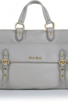 Miu Miu Buckle Detail Leather Tote - Lyst