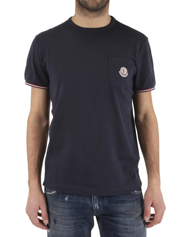 moncler front pocket logo jersey t shirt in blue for men. Black Bedroom Furniture Sets. Home Design Ideas