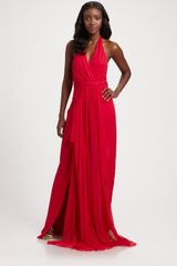 Notte By Marchesa Silk Chiffon Halter Gown