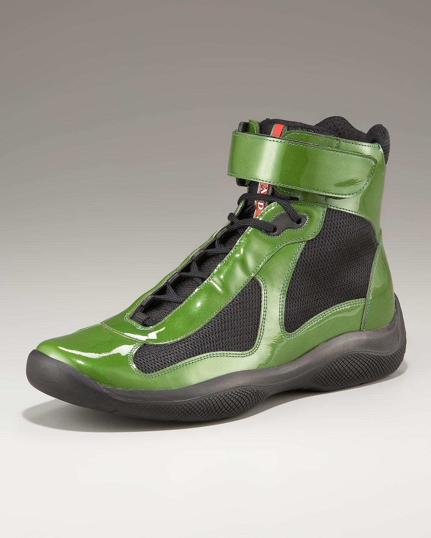 Prada Patent Leather Hi-top, Green in Green for Men | Lyst