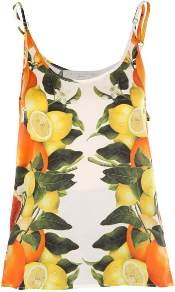 Stella Mccartney Large Citrus Print Top in Yellow (orange) - Lyst