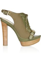 Emilio Pucci Leather and Canvas Laceup Sandals in Green (olive) - Lyst
