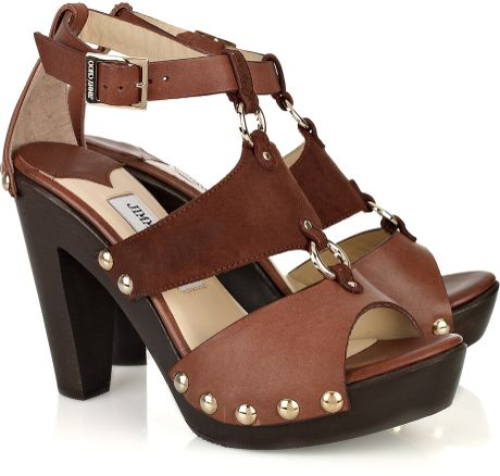 Jimmy Choo Ursula Leather and Suede Sandals in Brown - Lyst