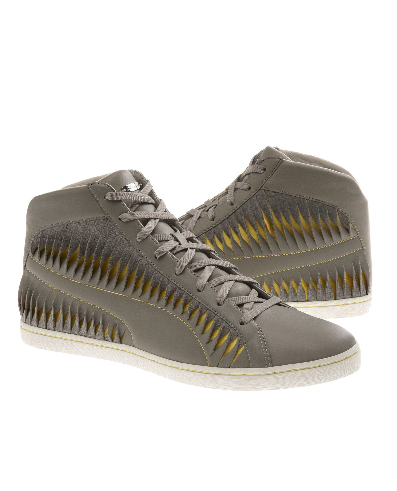 online store 613d9 1dc73 Alexander McQueen X Puma Twisted Leather Hi-tops in Gray for Men - Lyst