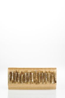 Oscar de la Renta Straw Embroidered Roll Clutch - Lyst