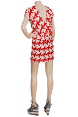 Balenciaga Woven Dress with Enlarged Houndstoothprint in Red - Lyst