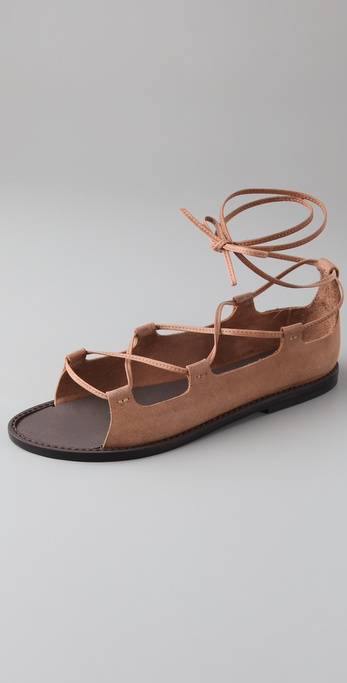Joie Cabaret Lace Up Flat Sandals In Brown Tan Lyst