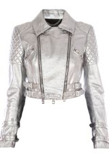 Burberry Prorsum Cropped Leather Jacket - Lyst