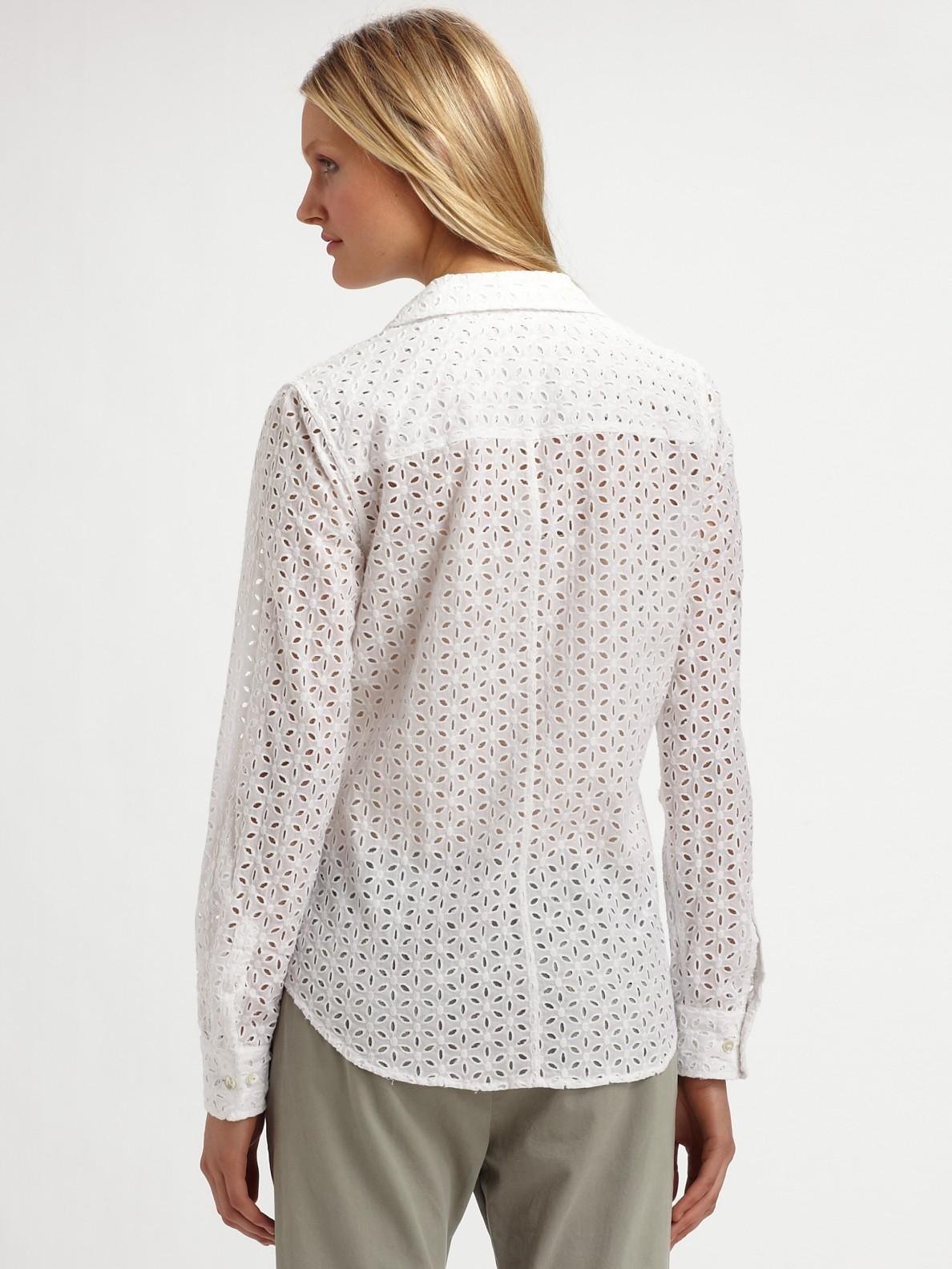 Lyst Equipment Brett Eyelet Shirt In White