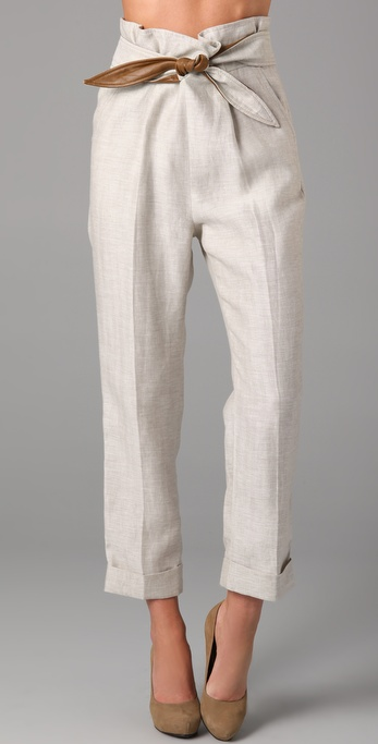 Tibi Capri Pants with Leather in White | Lyst