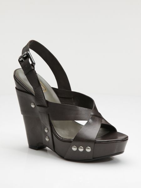Ash Leather Wedge Platform Sandals in Black (SPARROW) - Lyst