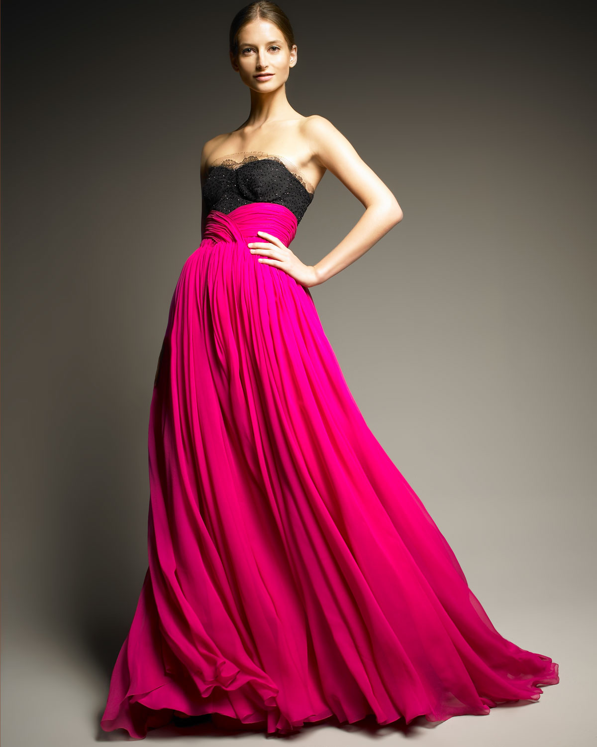 Fuchsia Gown: Jason Wu Lace-top Gown In Pink (fuschia)
