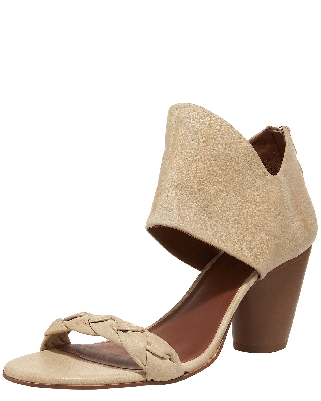 Elizabeth And James Mid Heel Ankle Cuff Sandal In Beige