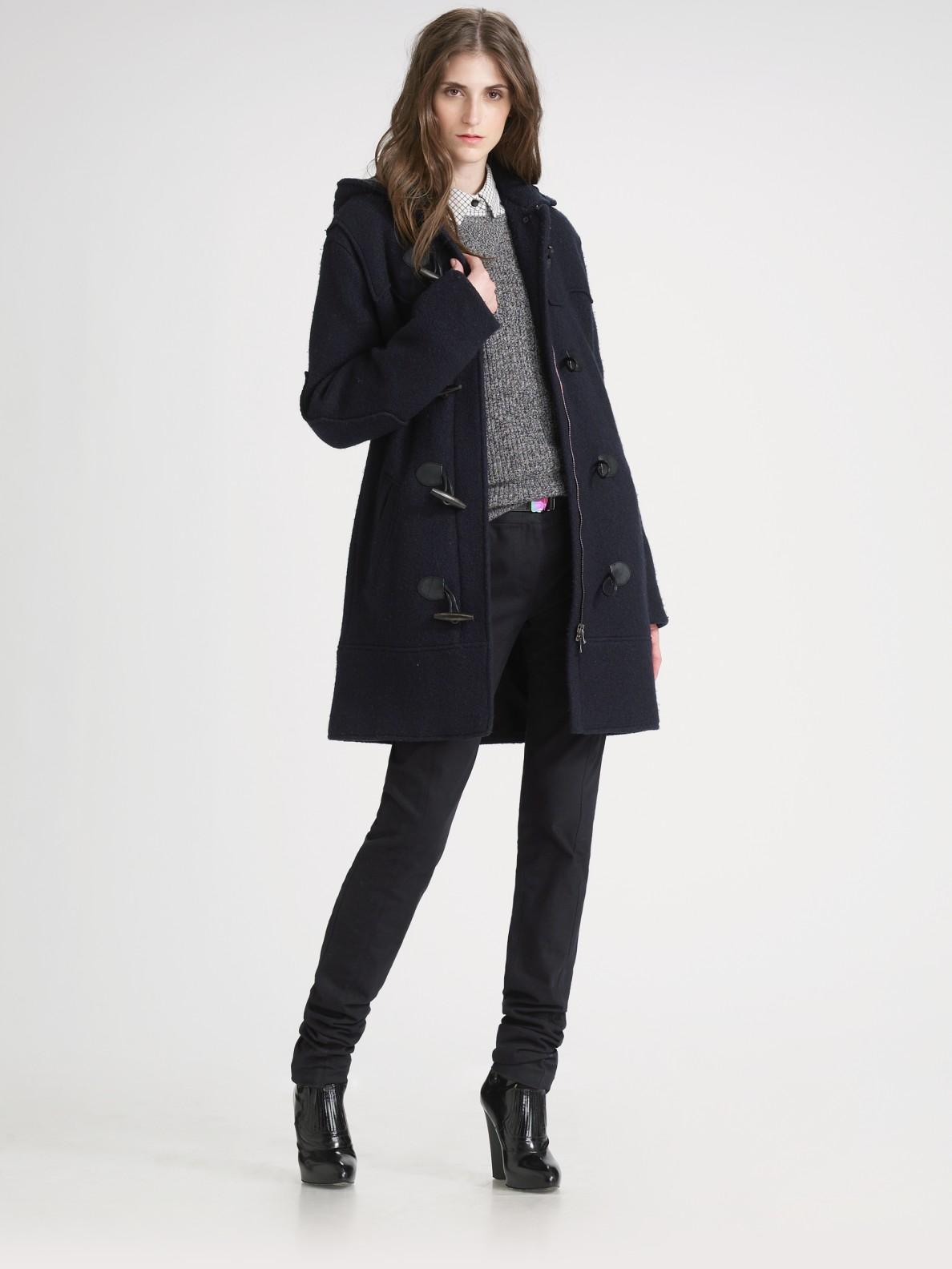 Proenza schouler Wool Toggle Coat in Blue | Lyst