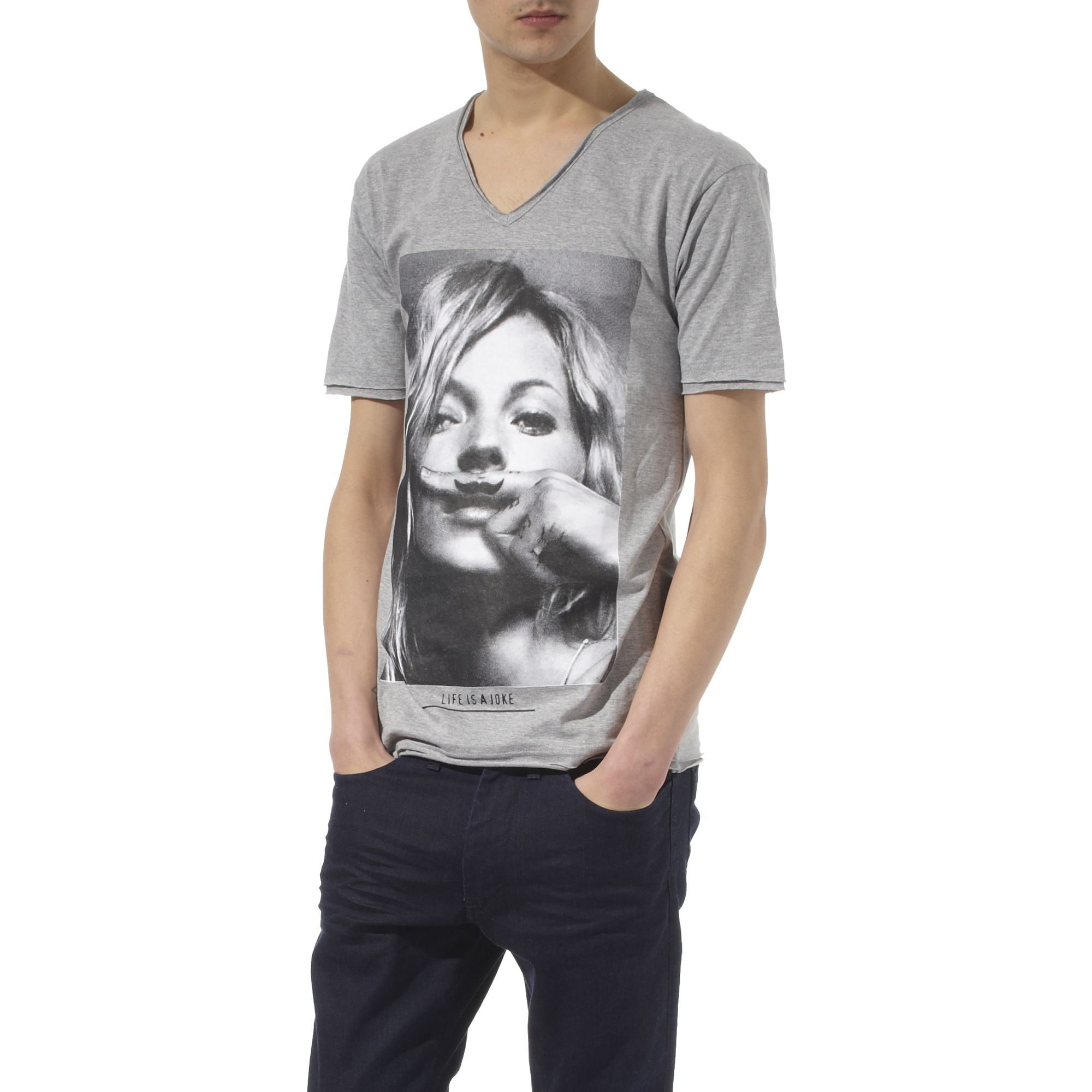 eleven paris kate moss moustache t shirt in gray for men grey lyst. Black Bedroom Furniture Sets. Home Design Ideas