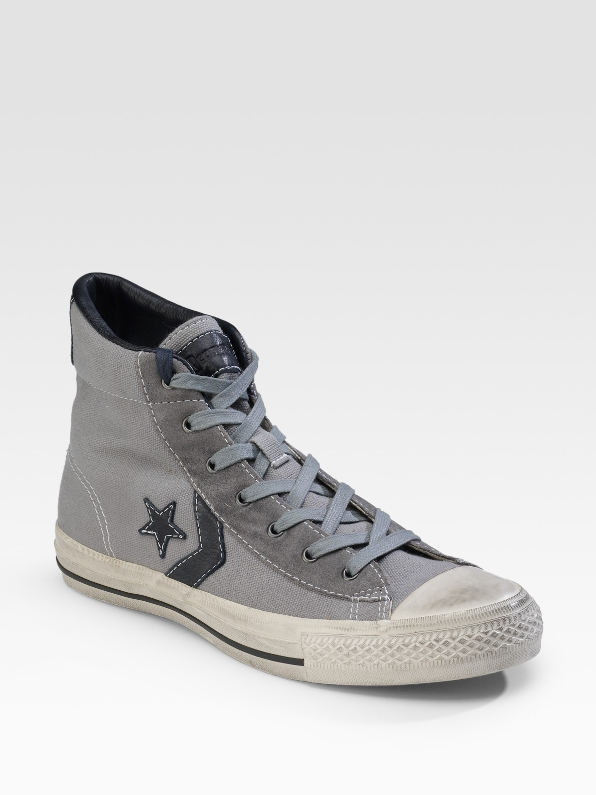 Converse Star Player Canvas High Tops In Gray For Men