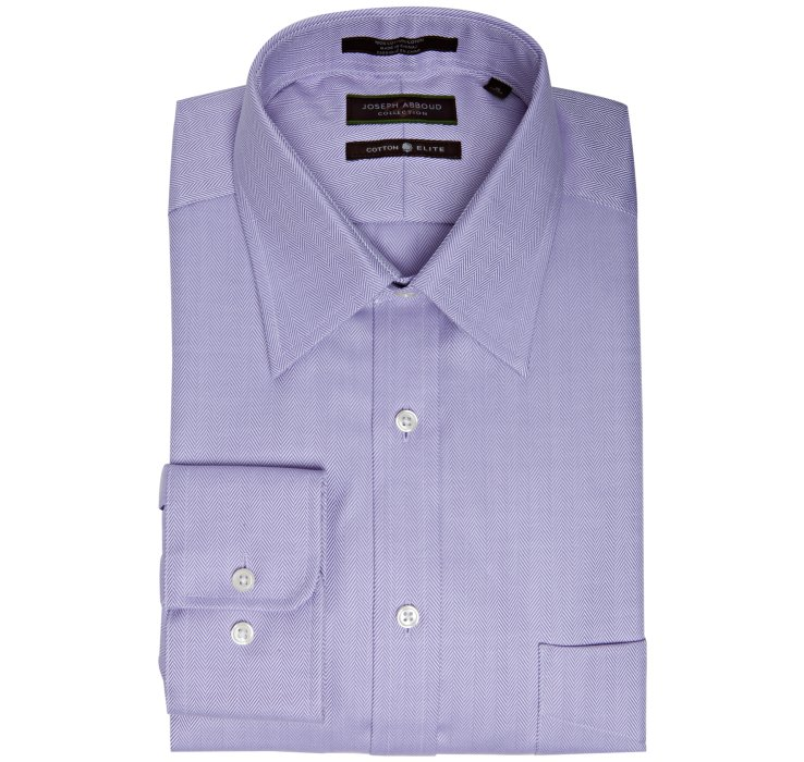Joseph Abboud Purple Cotton Herringbone Point Collar Dress