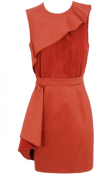 Carven Cotton Gabardine and Shantung Dress - Lyst