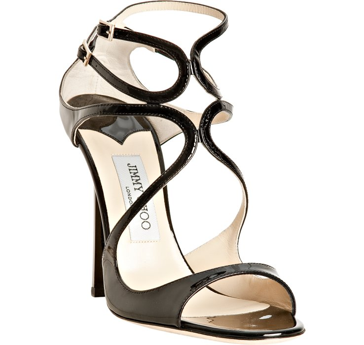01ea47548c0e ... coupon code for lyst jimmy choo black patent leather lance sandals in  black 68087 3eb57