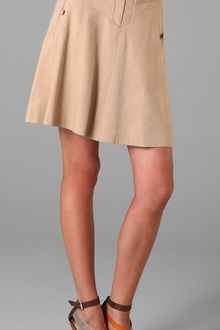 Rebecca Taylor A Line Skirt with Leather Trim - Lyst