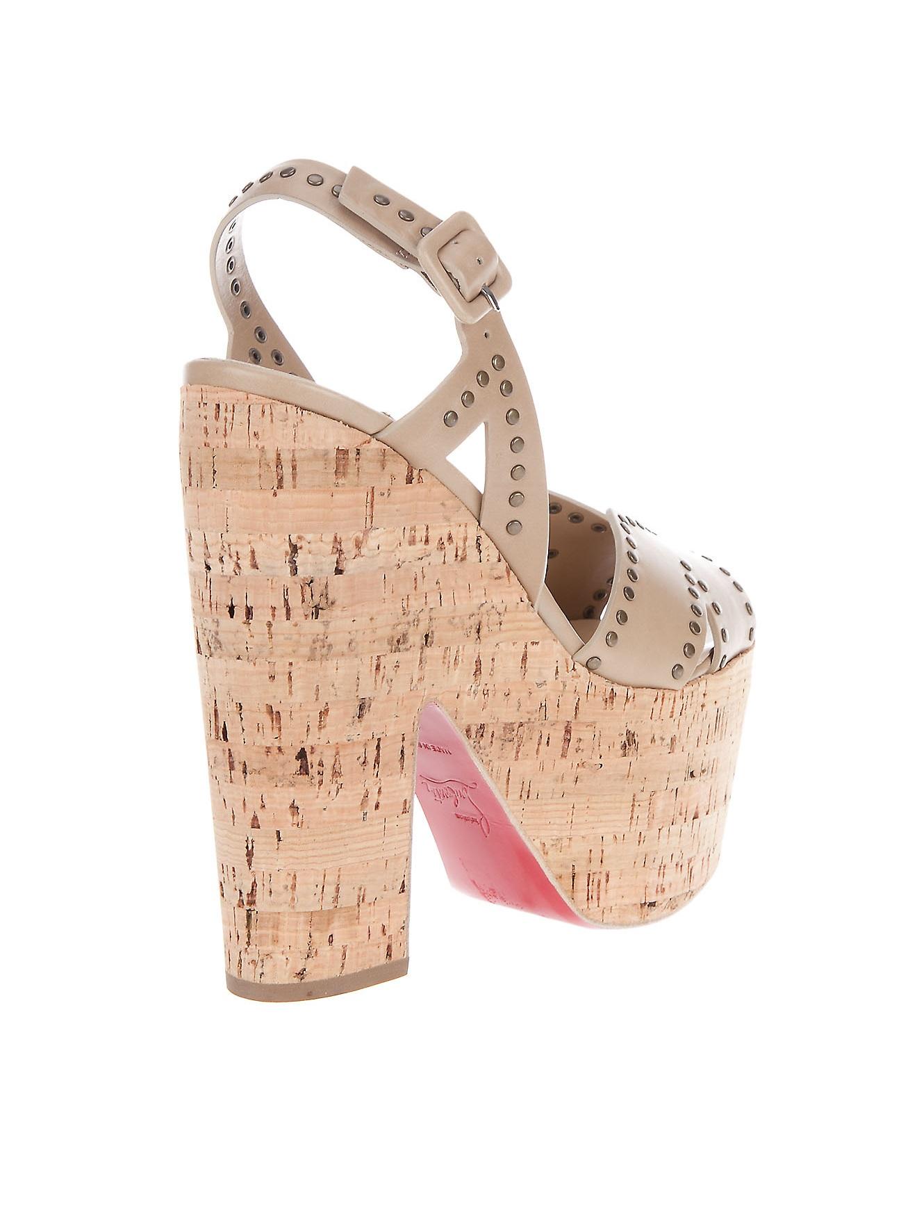 christian louboutin wedge slingback sandals Beige cork | cosmetics ...