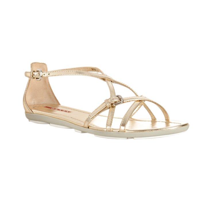 Lyst Prada Sport Gold Leather Flat Sandals In Metallic