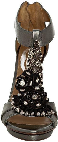 Elie Tahari Pewter Leather Susanna Jeweled T Strap Sandals